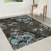 Rugs 8x10 Area Rug Abstract Modern Contemporary Floral Design 5x7 Rug Blue Gray