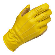Biltwell Work Motorcycle Gloves, Real Leather, Gold Size Xxl