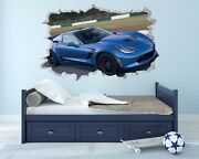 Corvette Z06 Wall Hole 3d Decal Vinyl Sticker Decor Room Smashed Racing