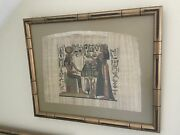 Two Egyptian Papyrus From Met Museum Art Signed And Framed Coa