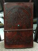 Leather Bound Journal- Tree Of Life Handmade Paper Embossed Leather Diary
