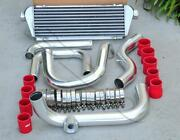 Chrome Piping Sqv/ssqv Flange + Intercooler + Red Coupler Kit For 92-00 Civic