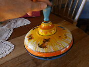 Vintage Ohio Art Toy Spin Top Tin Kitties Cat Butterfly Bright Doesnand039t Work