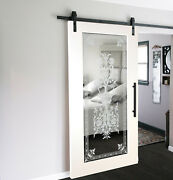 Mirrored Mdf Sliding Barn Door With Mirror Insert + Frosted Design + Hardware