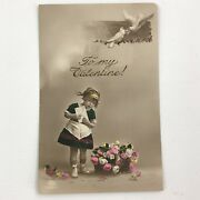 Antique Postcard Amazing Piece Hand Colored Valentines Pretty Little Girl
