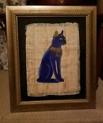 Framed Egyptian Hand Painted Genuine Papyrus Of Bastet The Cat Goddess 21x 25