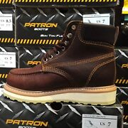 Men's Work Boots Moc Toe Genuine Leather Lace Up Oil Brown Padded Collar Soft