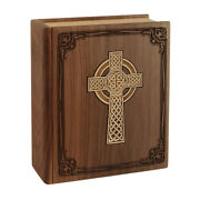 Wood Cremation Urn Wooden Urns - Walnut Book With Celtic Cross Companion