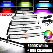 22/32/42/50/52inch Rgb Offroad Led Curved Light Bar Combo Driving And Free Wiring