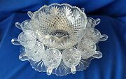Vtg- Tiffin Fransiscan Fan And Diamond Complete Punch Bowl Set☆very Hard To Find☆