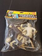 New Vintage Giant 6 Inch Cowboys And Indians Assorted Figures Unbreakable Plastic