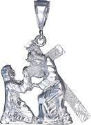 Sterling Silver Jesus Carrying Cross Pendant Necklace With Diamond-cut And Chain
