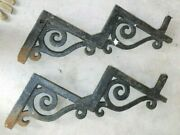 Antique Pair 1800's Wrought Iron Scroll Ornate Stair Steps Stringers Salvage