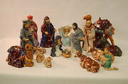 Ceramic Hand Painted Nativity Set - 17 Pieces 11 Tall Church Statue Christmas