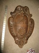 Carved Coat Of Arms Scroll Lion Torch Flames Gargoyle Black Forest Exquisite