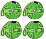 Solid Braid Nylon Dock Line 1/2 X 30and039 Floats Uv Usa Made - Lime Green 4-pack