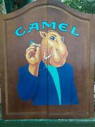 Vintage Camel Cigarettes Joe's Place Dart Board With Wooden Cabinet 25 X 20