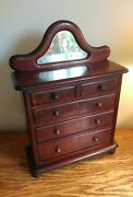 Late Victorian And039apprentice Pieceand039/miniature Mirror Backed Chest Of Drawers C1880