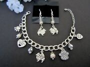Pomeranian Dog Charm Bracelet And Earrings With Fresh Water Pearls And Crystals