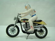 Evel Knievel Stunt Cycle Doll + Helmet Harley Amf With Motorcycle 1 Eps16143