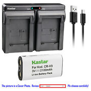 Kastar Battery Dual Charger For Canon Cr-v3 And Canon Powershot A60 A70 A75 A300