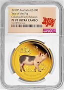 2019 Australia Proof Colored Gold 100 Lunar Year Pig Ngc Pf70 1oz Coin Er Label
