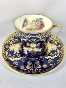 A Rare Aynsley Royalty Cup And Saucer Cobalt Blue Gold Roses Art Deco Demitasse ❤️