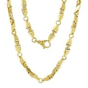 14k Yellow White Or Rose Gold Handmade Fashion Link Necklace 7mm Various Sizes