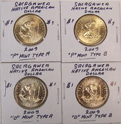 Sacagawea Unc Native American Dollar Set Of 52 P And D - Type A And B 2009 - 2021
