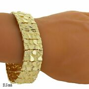 Menand039s 10k Yellow Gold Solid Nugget Bracelet Link 8-8.5 21.5mm 59-60 Grams