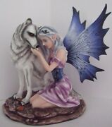 Nadine Fairy With Wolf Fantasy Ornament / Statue 17cm Nemesis Now