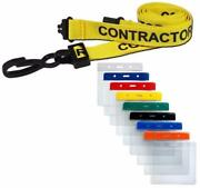 Contractor Lanyard Yellow Neck Strap And Coloured Flexi Wallet Id Card Pass Holder