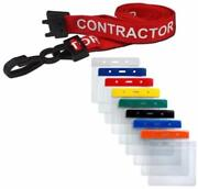Contractor Lanyard Red Neck Strap And Coloured Flexi Wallet Id Card Pass Holder