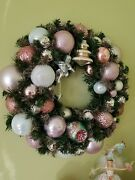 Pink Christmas Ornaments Wreath Hand Made W Vintage And New 16 Shabby Chic