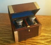 Lovely Victorian Brass And Leather Bound Casket C.1870 With Twin Perfume Bottles
