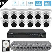 Hikvision Generic 16ch 4k 8mp Poe Nvr 12x5mp Turret Camera Security System 4tb