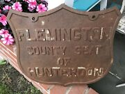 Antique Architectural Salvage Large Cast Iron Sign Flemington New Jersey Display