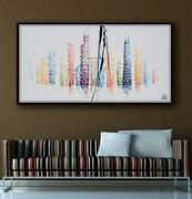 Chicago 67 Skyline Cityscape Original Oil Painting On Canvas, Thick Layers