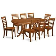 Dining Room Table Oval 8 Chairs 9 Pc Set Family Dinette Holiday Eating Wood