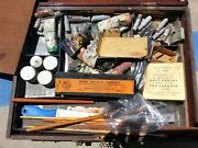 Wood Artists' Box With Key Charcoals 8 Shades Of Grey Chalk Vials Paints Palette