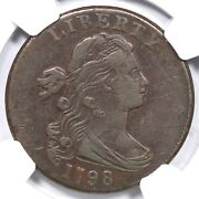 1798 S-186 Ngc Vf 35 Draped Bust Large Cent Coin 1c
