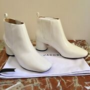 Marc Jacobs White Patent Leather And039rocketand039 Chelsea Boots Last Pair Bnib
