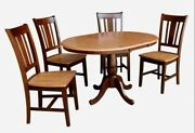 Dining Round Pedestal Table 36 4 Chair 12 Extension Leaf Wood 5 Piece Set Gift