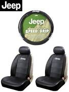 5 Pc Jeep Elite Mopar Seat Covers And Steering Wheel Cover Synth Leather