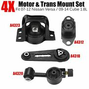 4pcs Engine Motor And Trans Mount Set For 2007-12 Nissan Versa / 2009-14 Cube 1.8l