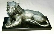 Rare - Antique Lion Inkwell With Original Cobalt Blue Glass In Great Condition