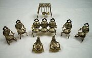 Vintage Miniature Brass Metal Doll House Furniture 8 Piece Set Made In Spain