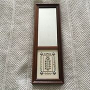 Vintage Cross Stitch Sampler Primitive Wall Mirror Beautifully Framed 5x15.5 In