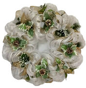 Silver And Gold Holly And Pine Cones Christmas Wreath Handmade Deco Mesh