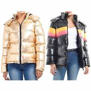 Ladies Gold Sliver Contrast Colour High Shine Coated Block Panel Puffer Jacket
